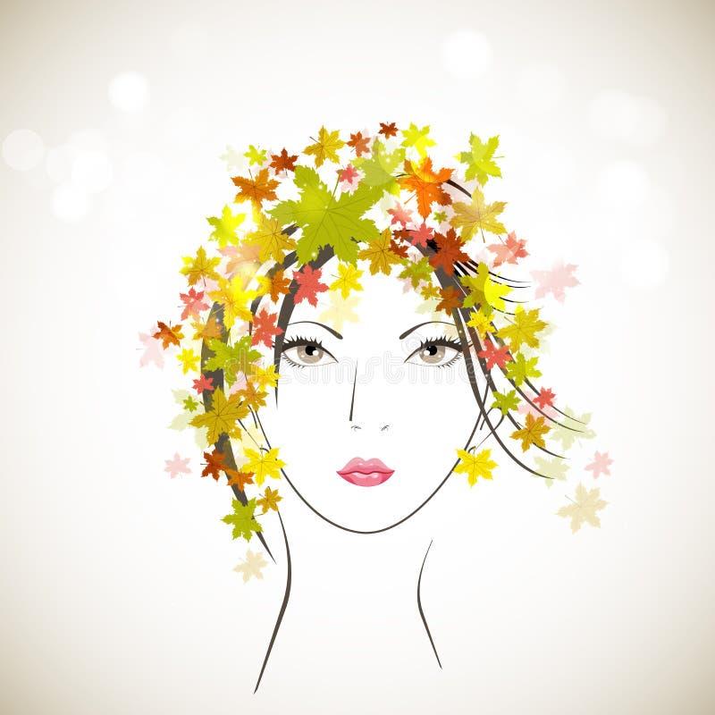 Skissa av en härlig flicka royaltyfri illustrationer