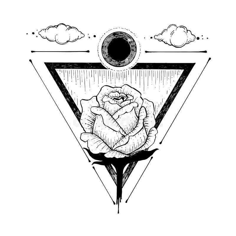 Skissa av en härlig rosblomma och triangel på en vit stock illustrationer