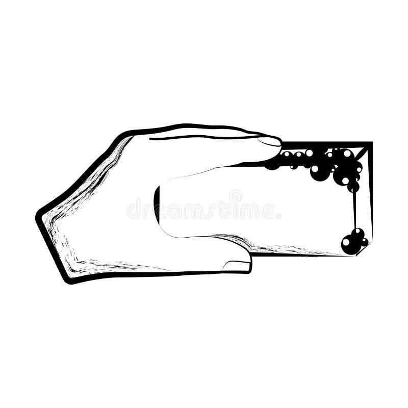 Skissa av en hand som rymmer en svamp stock illustrationer
