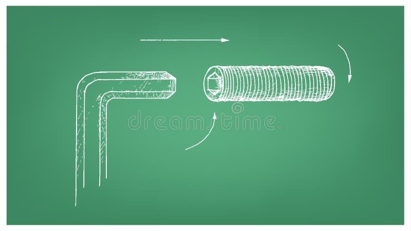 Skissa av en korrigeringsskruv på ritning stock illustrationer