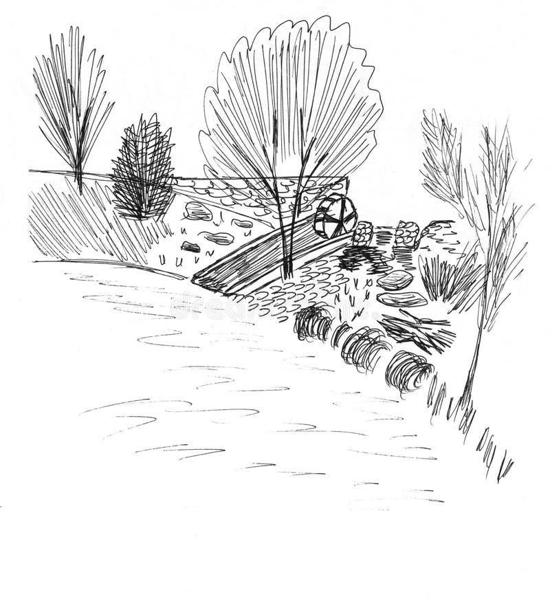 Skissa av en kust vektor illustrationer