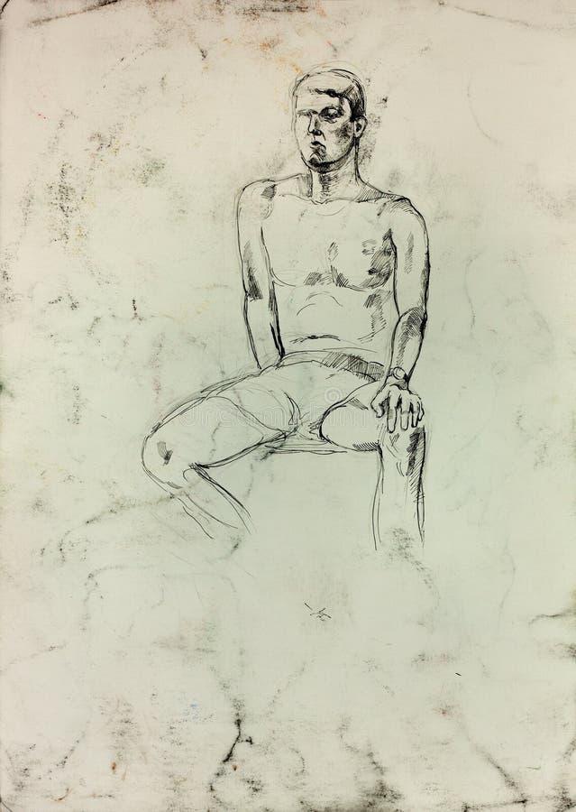 Skissa av en man vektor illustrationer