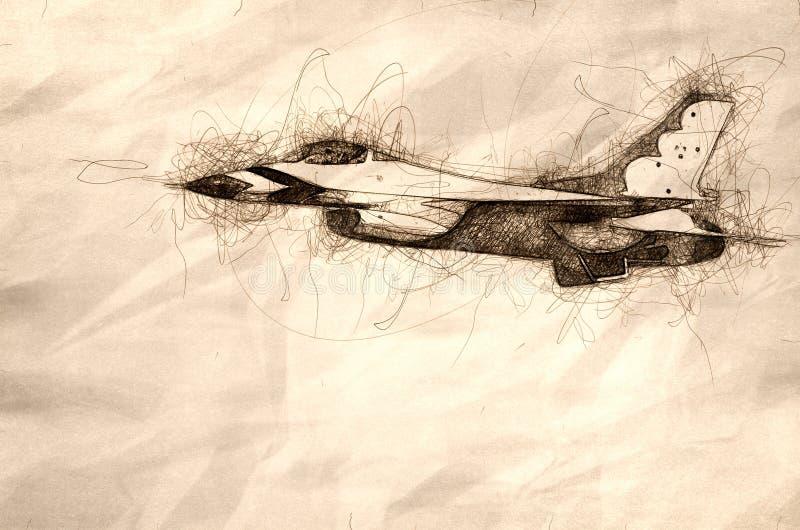 Skissa av en militär kämpe Jet Passing By arkivfoton