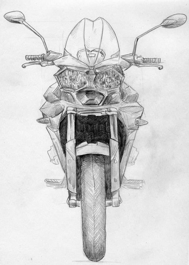 Skissa av en motorcykel stock illustrationer