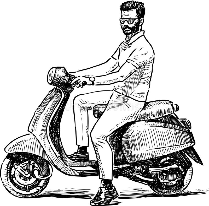 Skissa av en person på en sparkcykel vektor illustrationer