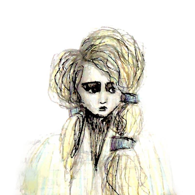 Skissa av en stående av en ledsen flicka i ett pälslag med lockigt royaltyfri illustrationer