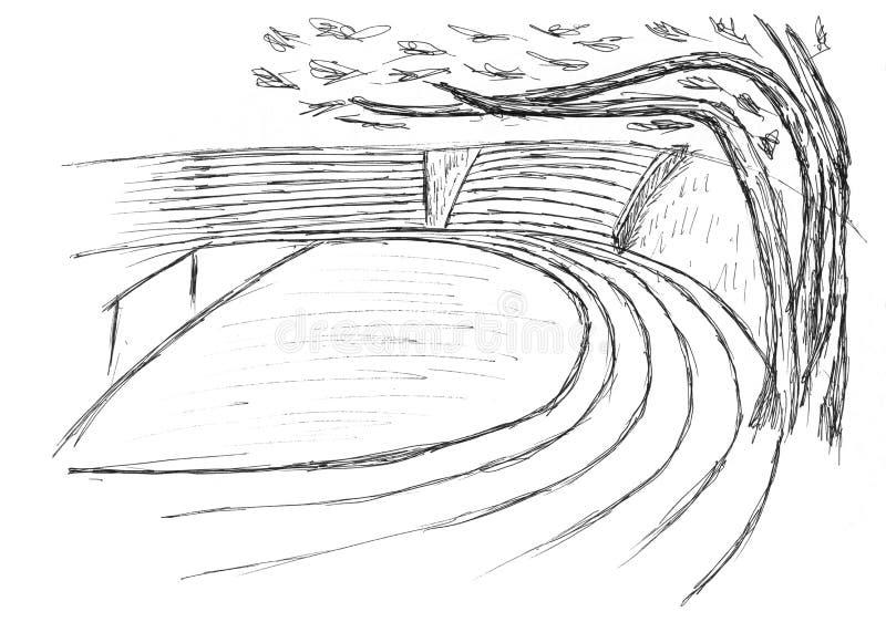 Skissa av en stadion stock illustrationer