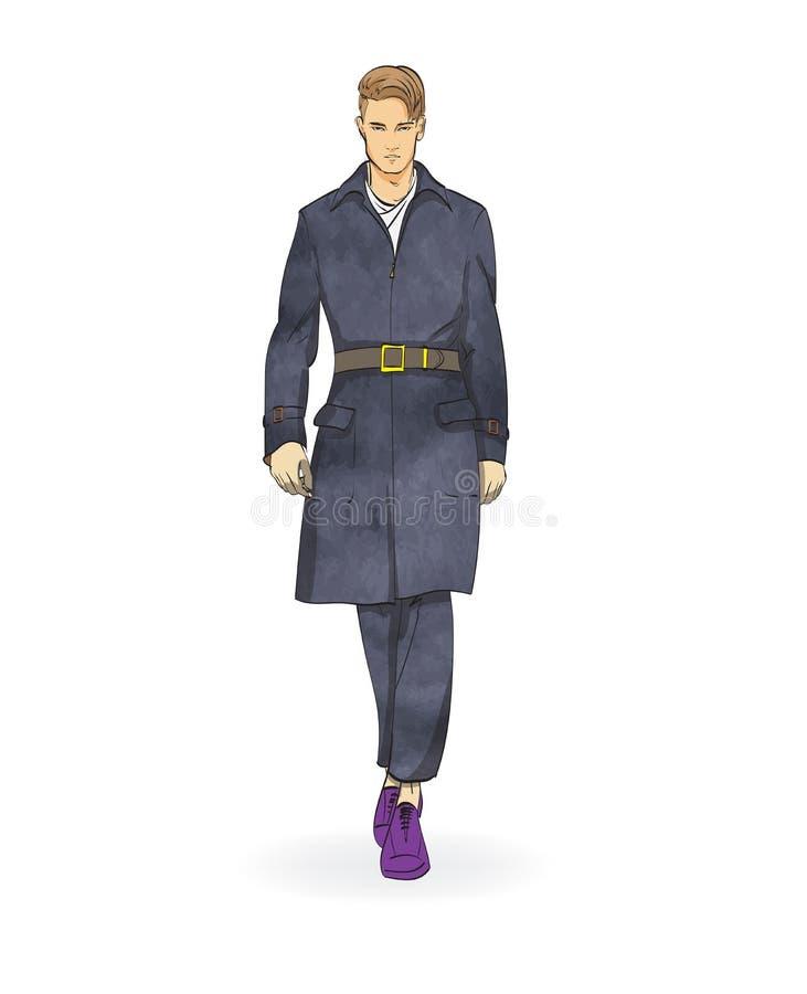 Skissa av en trendig man royaltyfri illustrationer
