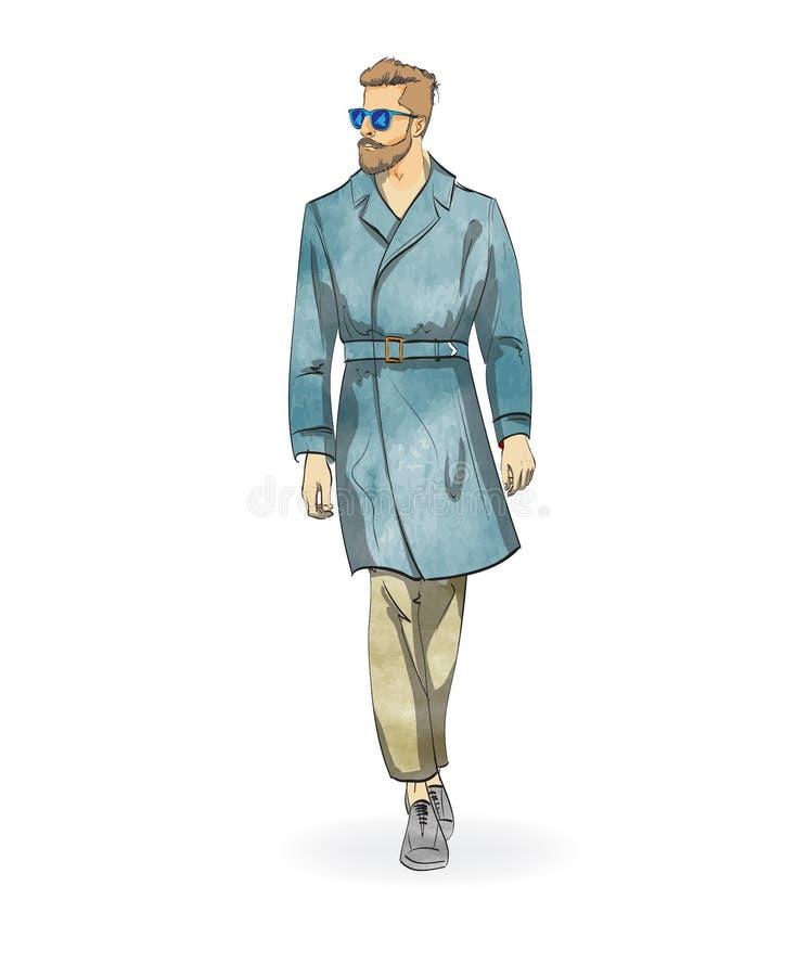 Skissa av en trendig man vektor illustrationer