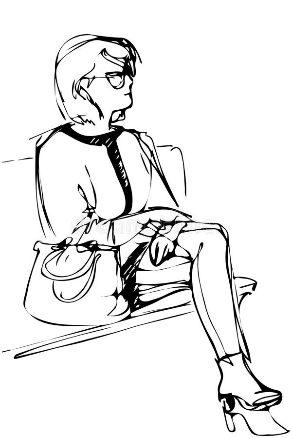 Skissa av en ung kvinna i exponeringsglas sitter på en bänk vektor illustrationer