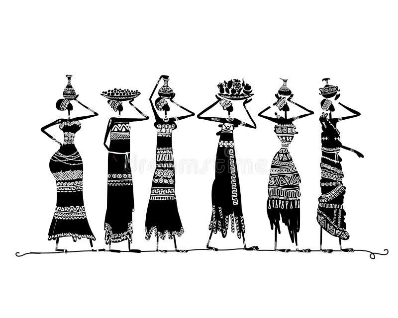 Skissa av etniska kvinnor med tillbringare för din design stock illustrationer