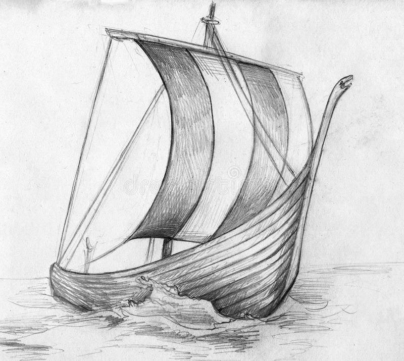 Skissa av ett drakkar viking skepp - royaltyfri illustrationer