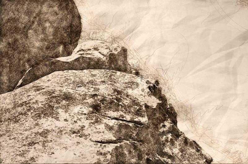 Skissa av ett granitbildande i staden av vaggar royaltyfri illustrationer