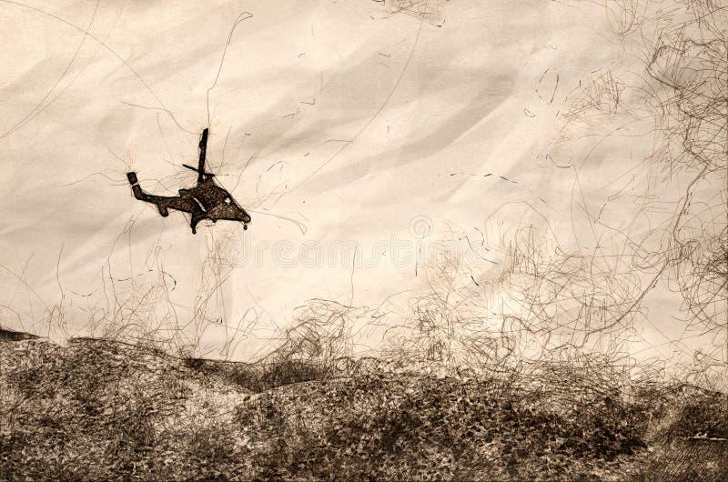 Skissa av ett helikopterflyg in mot den täta vita röken som stiger från den rasa löpelden stock illustrationer