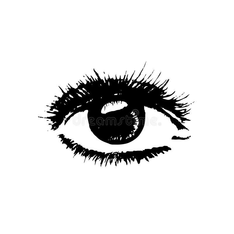Skissa av ett realistiskt öga också vektor för coreldrawillustration Teckna förbi handen stock illustrationer