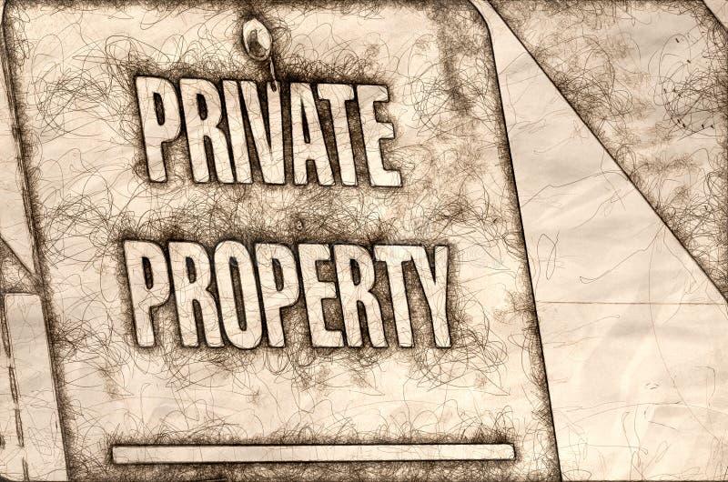 Skissa av ett tecken för privat egenskap fotografering för bildbyråer