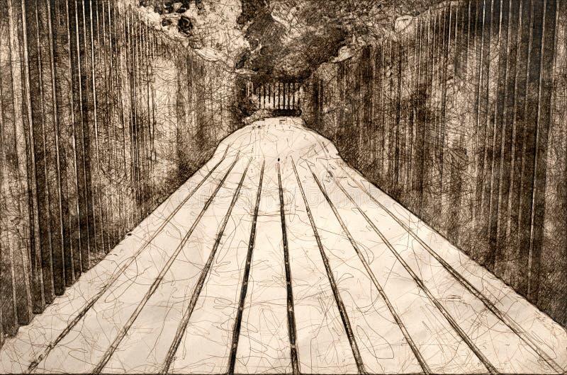 Skissa av för att promenera Summer's träträdgårdgångbanan arkivfoto