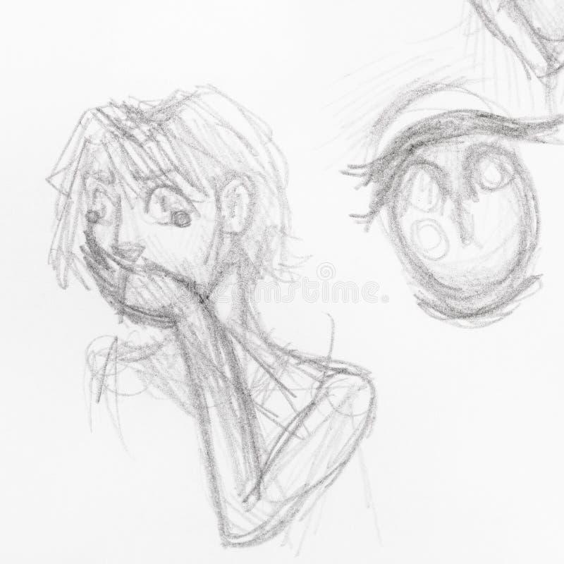 Skissa av förskräckt flicka med handen täcker hennes mun vektor illustrationer