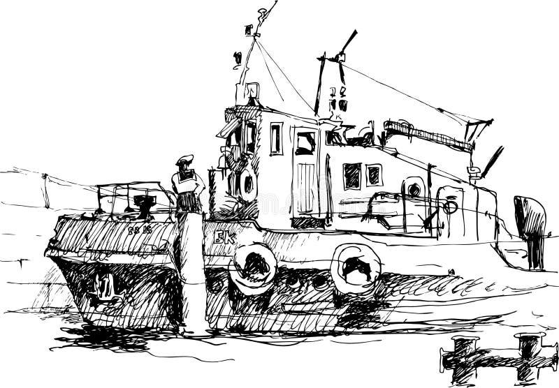Skissa av fartyget royaltyfri illustrationer