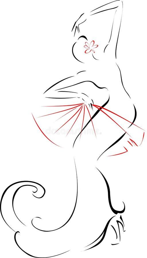 Skissa av flamencodansare med fanen stock illustrationer