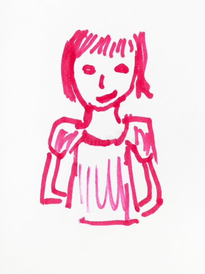 Skissa av flickahanden som dras av den rosa klädde med filt pennan vektor illustrationer