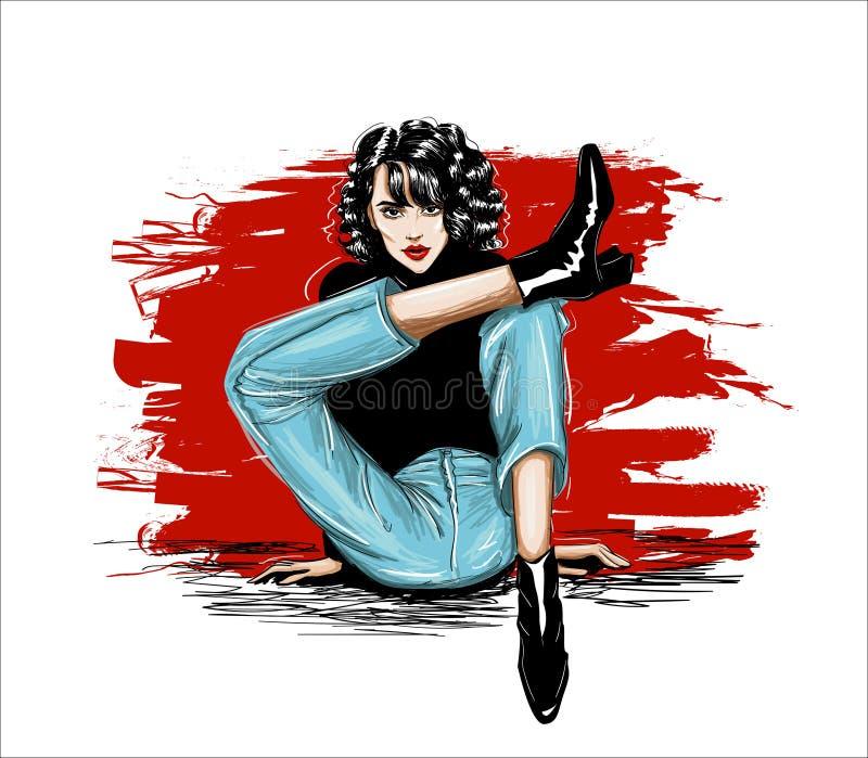 Skissa av flickan som sitter med korsade ben vektor illustrationer
