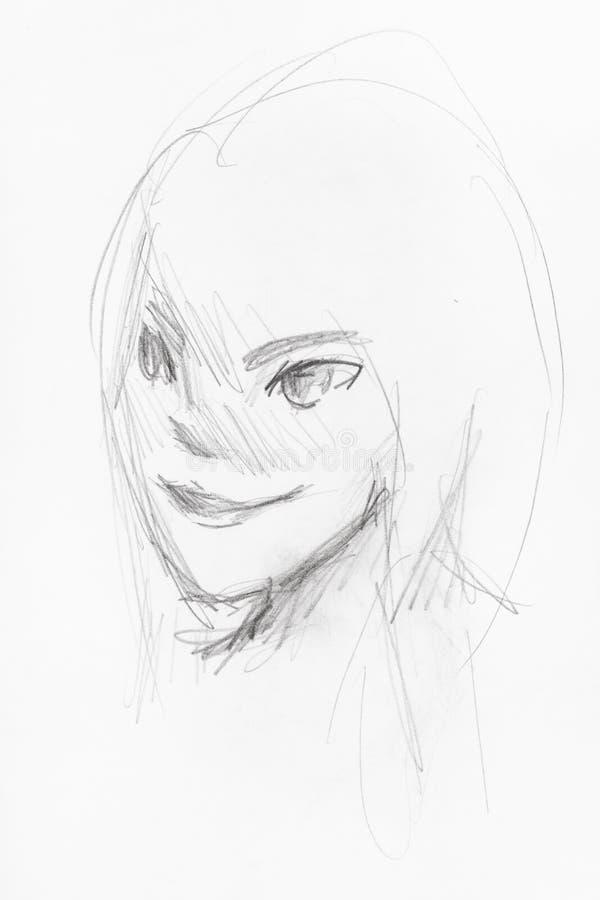 Skissa av flickans huvud med att le framsidan i anime vektor illustrationer