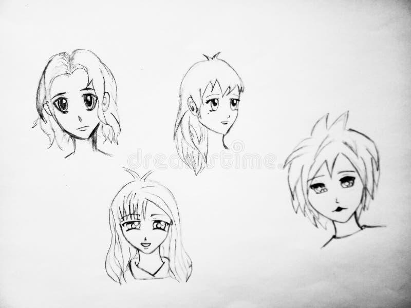 Skissa av fyra animeframsidor på den vita bakgrunden royaltyfria foton