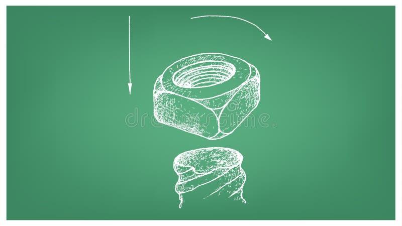 Skissa av fyrkantig mutter och skruven på ritning stock illustrationer