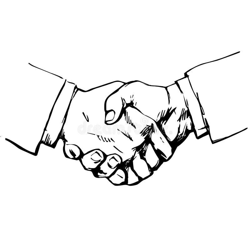 Skissa av handskakning Symbol av kamratskap, partnerskap, lyckat förhandla, affärsöverenskommelse tecknad handvektor royaltyfri illustrationer