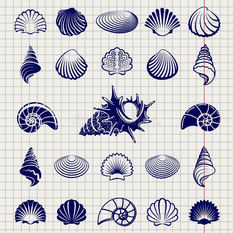 Skissa av havsskal royaltyfri illustrationer