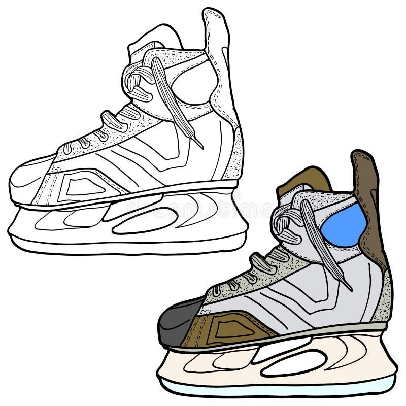 Skissa av hockeyskridskor Skridskor som spelar hockey på is, vektorillustration stock illustrationer