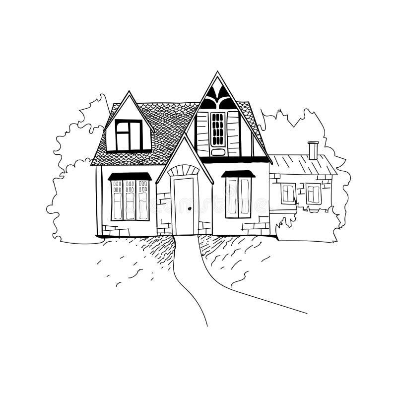 Skissa av husarkitekturen Illustration för fria händerteckningsvektor Tumnageln skissar av perspektivteckning av royaltyfri illustrationer