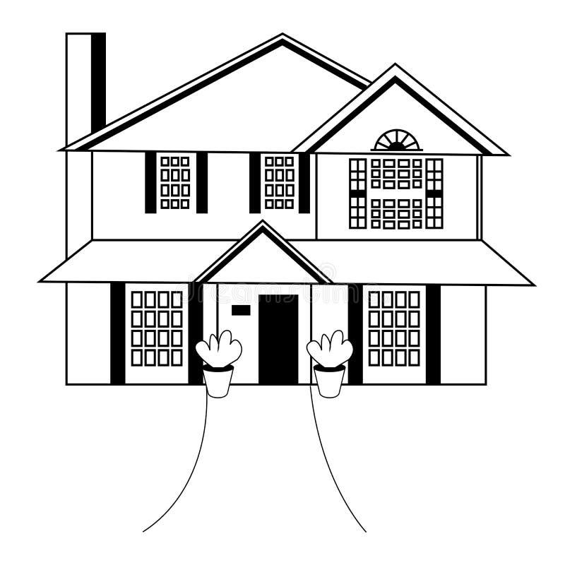 Skissa av husarkitekturen Illustration f?r fria h?nderteckningsvektor Tumnageln skissar av perspektivteckningen av yttersidan stock illustrationer