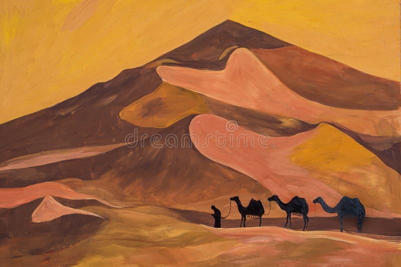 Skissa av husvagnen med kamel i bränning öken stock illustrationer