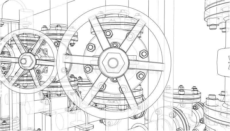 Skissa av industriell utrustning illustration 3d stock illustrationer