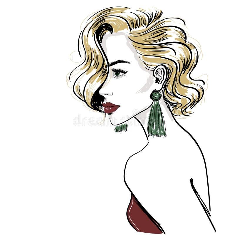 Skissa av klassisk blond kvinna med hårvågor vektor illustrationer