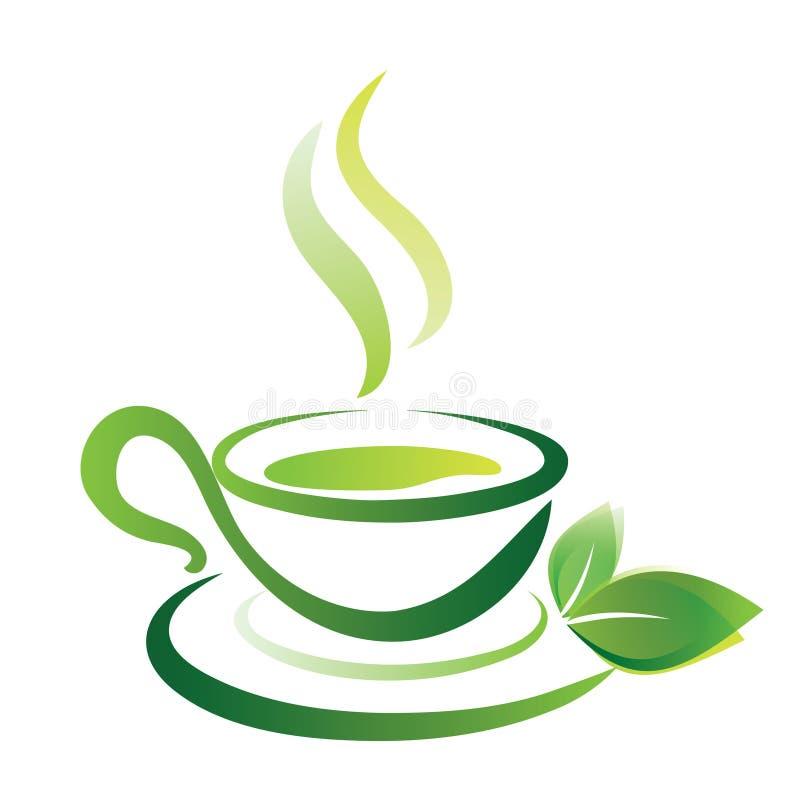 Skissa av koppen för grönt te, symbol stock illustrationer