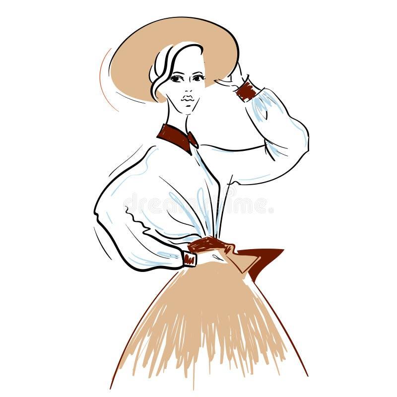 Skissa av kvinnan som poserar i hatt vektor illustrationer