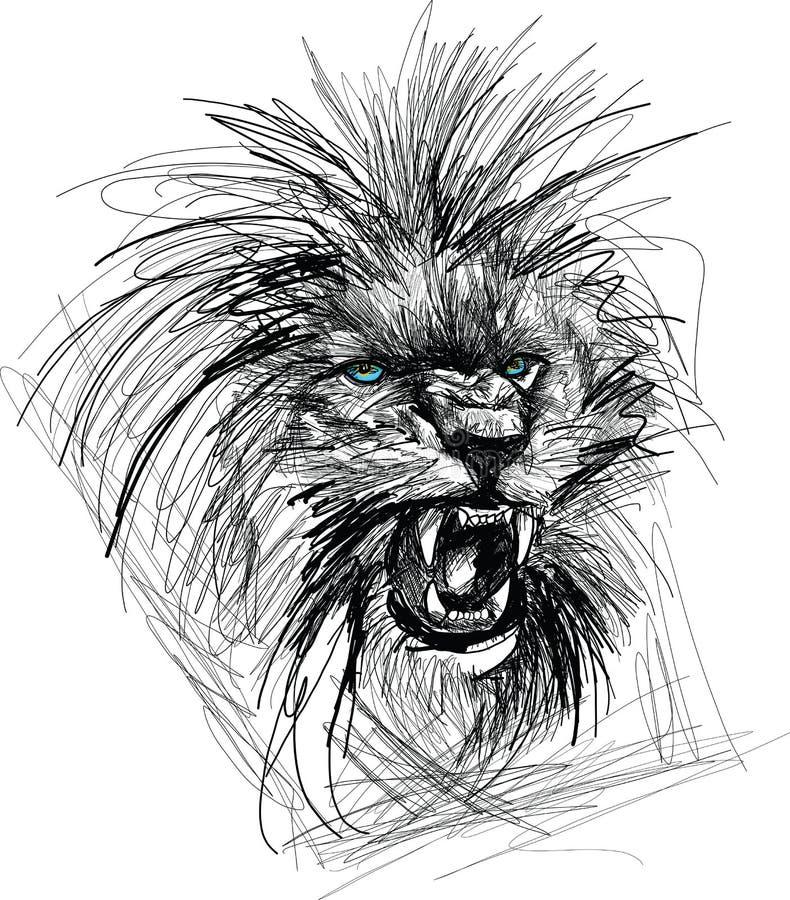 Skissa av Lion Head stock illustrationer