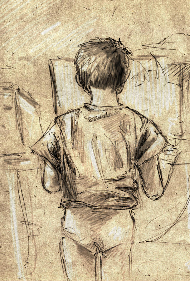 Skissa av lite pojken som använder datoren arkivbilder