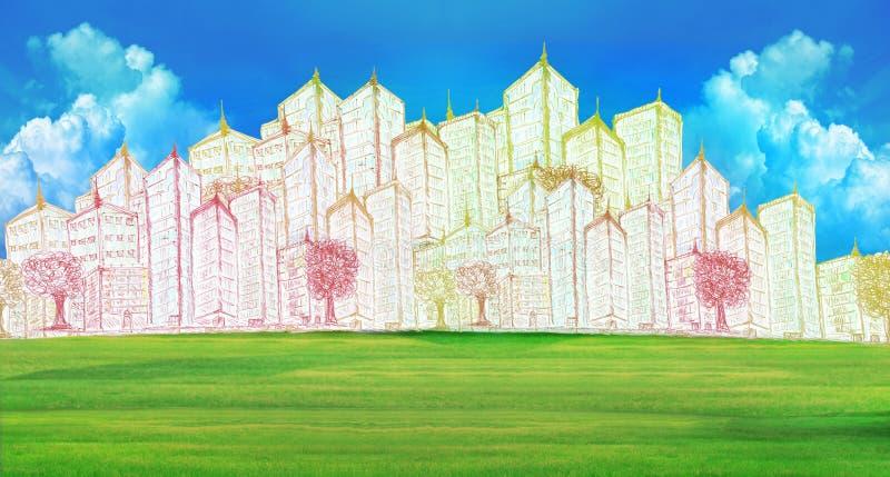 Skissa av modern byggnad på fält för grönt gräs stock illustrationer