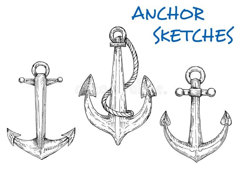 Skissa av nautiska ankaren för tappning med repet royaltyfri illustrationer