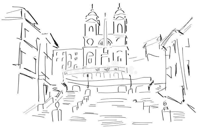 Skissa av piazza di Spagna stock illustrationer