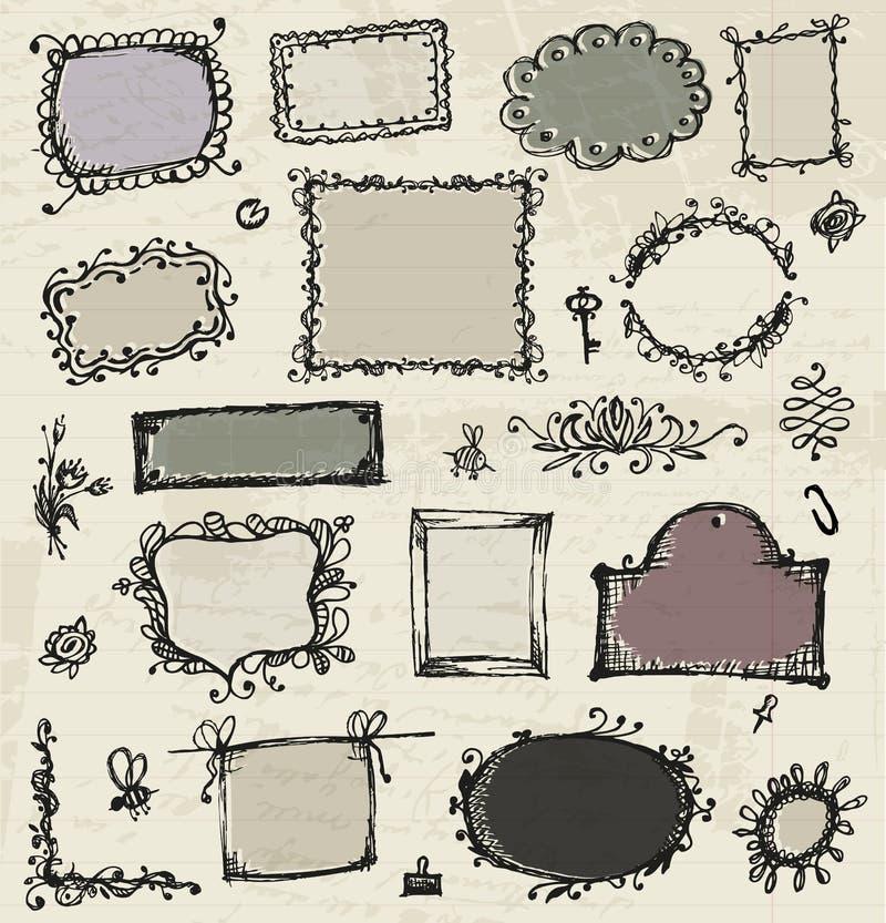 Skissa av ramar, handteckningen för din design vektor illustrationer