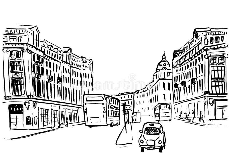 Skissa av Regent Street royaltyfri illustrationer