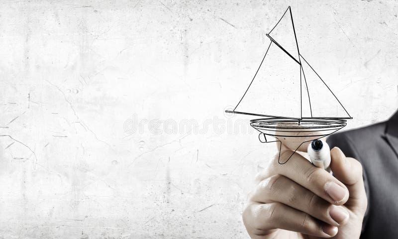 Skissa av segelbåten royaltyfri fotografi