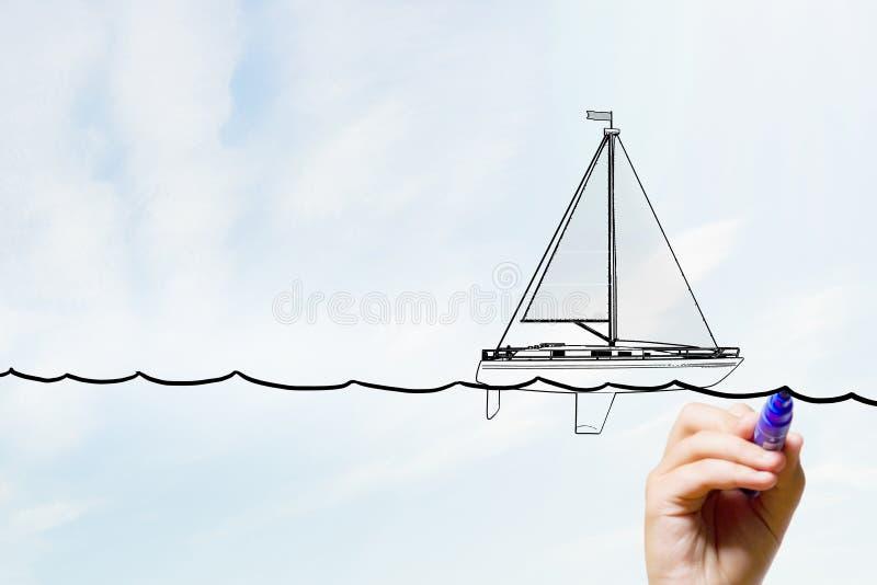 Skissa av segelbåten royaltyfria bilder