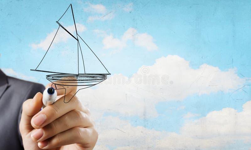 Skissa av segelbåten royaltyfri foto