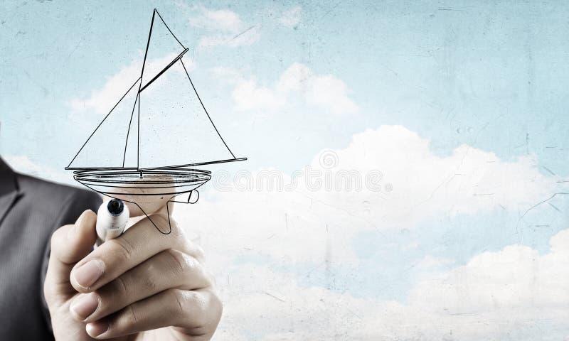 Skissa av segelbåten arkivfoto